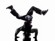 breakdancing年轻人手倒立的Hip Hop杂技断裂舞蹈家 免版税图库摄影