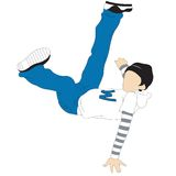 Breakdancing. Young man with clothes in hiphop style showing a dance move while jumping over pure white background Stock Photos