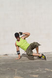 Breakdancing. Young hip hop dancer breakdancing outdoors Stock Photo