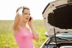 Breakdown With Car Royalty Free Stock Photography