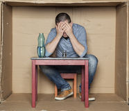 Breakdown and depression led to alcoholism Royalty Free Stock Photo