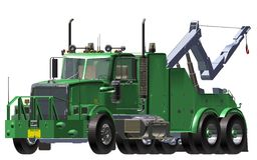 Breakdown Truck. Green breakdown Truck and crane 3D white background Royalty Free Stock Photos