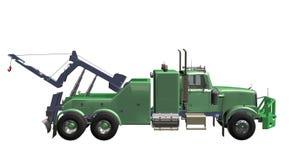Breakdown Truck. Green breakdown Truck and crane 3D white background Royalty Free Stock Images
