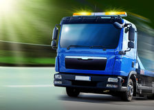 Breakdown vehicle. New blue breakdown vehicle with yellow signal lights Royalty Free Stock Photography