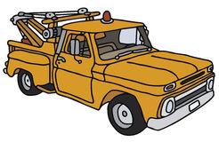 Breakdown vehicle. Yellow breakdown service vehicle, vector illustration, hand drawing Vector Illustration