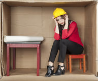 Breakdown at work. Business woman Royalty Free Stock Photography
