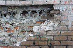 Breaked ściana z cegieł Obrazy Royalty Free