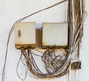Breaker box on old dirty wall. Royalty Free Stock Image