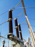 Breaker 110kV. High voltage circuit breaker, located in substation switchgear yard Royalty Free Stock Image