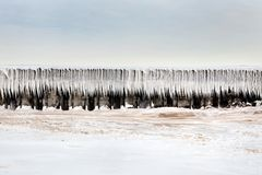 Breaker wall covered in ice Stock Photo