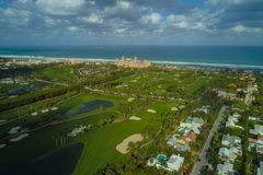 The Breakers Palm Beach Florida USA. Aerial drone image of The Breakers Palm Beach Florida and golf course landscape Atlantic Ocean royalty free stock image
