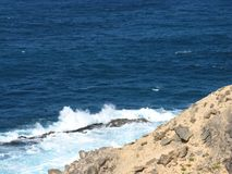 Breakers at the west coast of Fuerteventura  in Spain Royalty Free Stock Photography