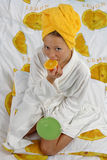 Breakfas in the bed. Inscenization of brakfast in the bed Stock Photos