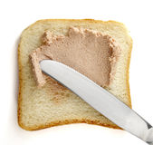 Breakfast 1. Close up of toast bread and meat paste on white background  with clipping path Stock Photography