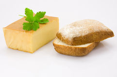 Breakfast. Smoked cheese, parsley and bread isolated on white stock images