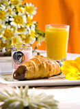 Breakfast. With croissant and orange juice Royalty Free Stock Image