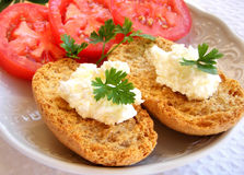 Breakfast. Breakfast a sandwich with cottage cheese and tomatoes Stock Photography