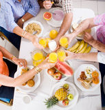 Breakfast. Group of senior friends having breakfast together Stock Images