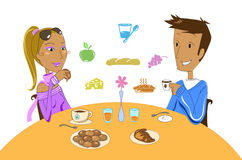 Couple at breakfast. Digital illustration of man and woman having a good healthy breakfast stock illustration