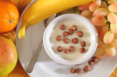 Breakfast. Healthy breakfast, fruit,yogurt and cereal Royalty Free Stock Photos