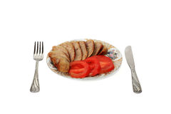 Breakfast. From fried sausage and tomatoes Stock Photography