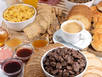 Breakfast. A delicious served breakfast with coffee royalty free stock images