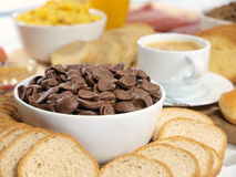 Breakfast. A delicious served breakfast with coffee stock image