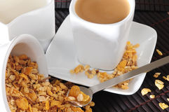 Breakfast. Cereal and coffee or tea with milk for backgrounds Stock Images