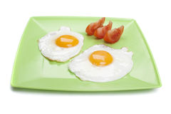 Breakfast. Fried eggs in plate isolated on white royalty free stock photo