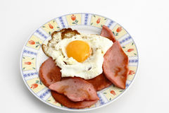Breakfast. Eggs with sausage for breakfast on the plate Royalty Free Stock Photo