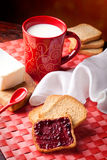 Breakfast. Healthy and nutrient breakfast: milk, toast, butter and jam Royalty Free Stock Images