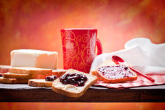 Breakfast. Healthy and nutrient breakfast: toast with butter and jam Royalty Free Stock Images