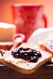 Breakfast. Healthy and nutrient breakfast: toast with butter and jam Stock Photography
