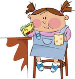 Breakfast. A little girl with a cup of tea and a sandwich Stock Photography