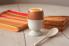 Breakfast. Boiled egg and toasted bread Royalty Free Stock Images