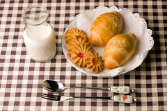 Breakfast. A delicious breakfast table, was milk, bread and cookies Stock Photo