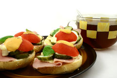 Breakfast. Spring breakfast with tea in big cup Royalty Free Stock Photo