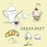 Breakfast. Universal template for greeting card, web page, background Stock Photo