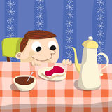 Breakfast. Kid looking happy the table Stock Illustration