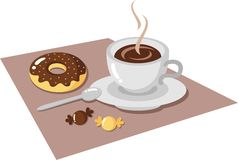 Breakfast. Cup of coffee, donuts and candy Royalty Free Stock Image