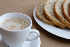 Breakfast. Lovely breakfast with coffe and bread Stock Photos