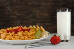 Breakfast. Fruit salad with milk Royalty Free Stock Photography