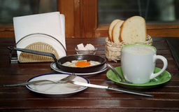 Breakfast. And table. Coffee, bread and eggs Stock Photo