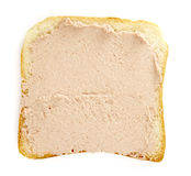 Breakfast 2. Close up of toast bread and meat paste on white background  with clipping path Stock Image