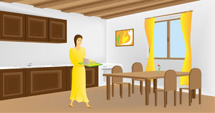 Breakfast. Girl have a breakfast at home Royalty Free Illustration