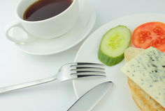Breakfast. With bread, cheese, coffee on white background Stock Photography