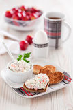 Breakfast. Fresh goat cheese dip with peppers and apples on toast, selective focus Royalty Free Stock Images
