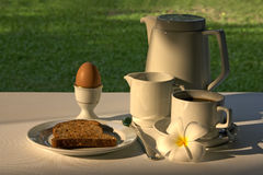 Breakfast. A pot of tea or coffee, cream, toast, egg and frangipani flower in an outdoor garden setting stock photos
