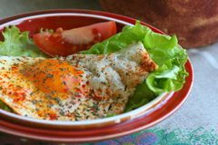 Breakfast. Fried egg with salad and tomato in country style Stock Photography