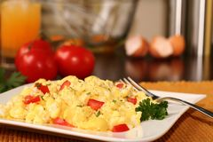 Breakfast. A breakfast of fluffy scrambled eggs Royalty Free Stock Photo